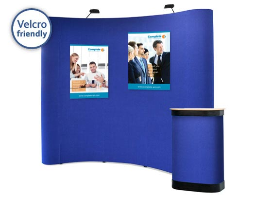 Posters can be attached to the display using hook Velcro.