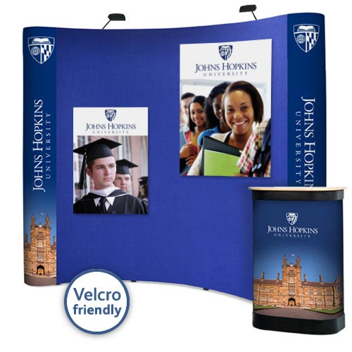 3x3 curved popup with digitally printed graphic end panels and Velcro friendly front facing panels.