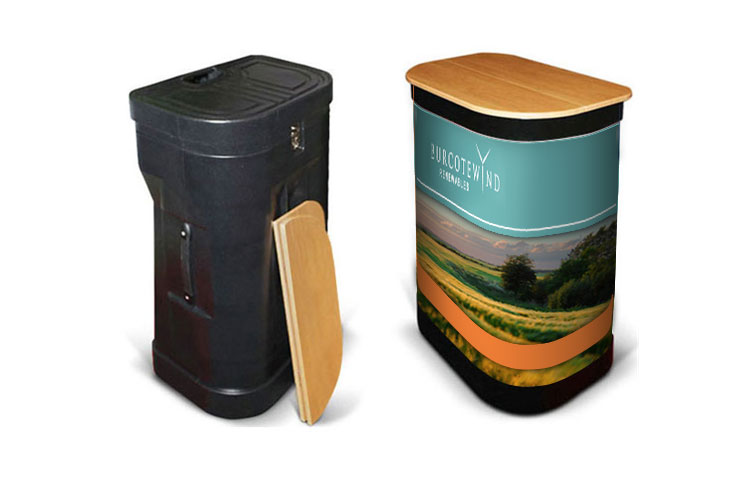 Upgrade your package to include a case to counter conversion kit which includes a beech top & graphic wrap.