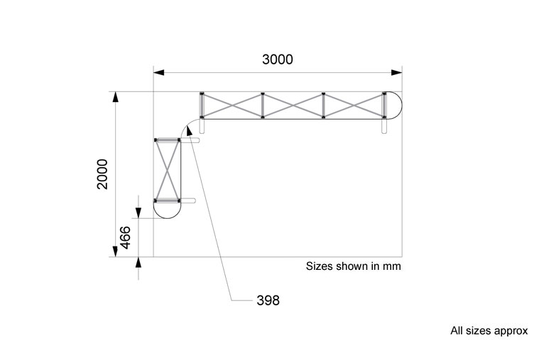 Line drawing of 2 x 3m L-shape popup exhibition stand
