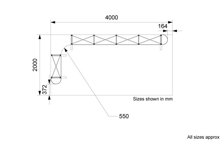 Line drawing of 2 x 4m L-shape popup with sizes