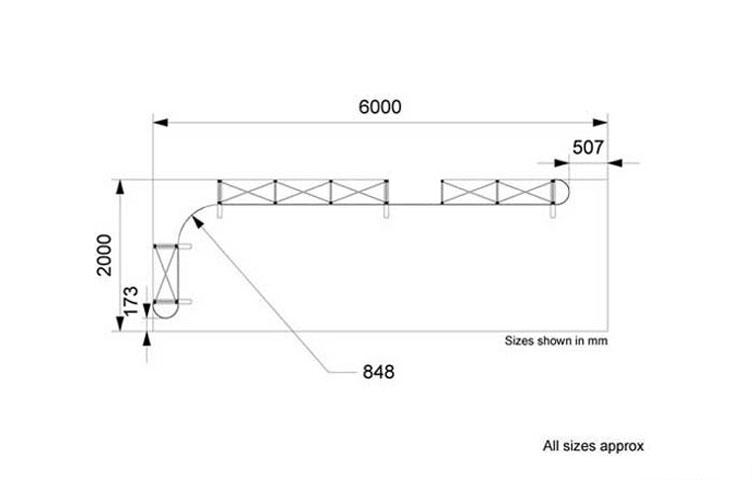 Size information: 2 x 6m L-shape popup stand