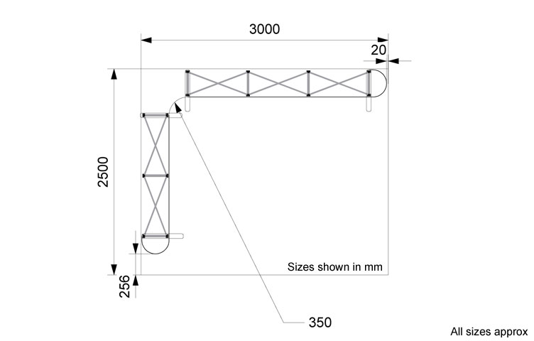 Dimensions of 2.5 x 3m L-shape popup stand package