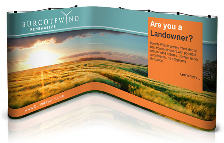 L-shape popup stand for 2.5 x 3m exhibition stand space
