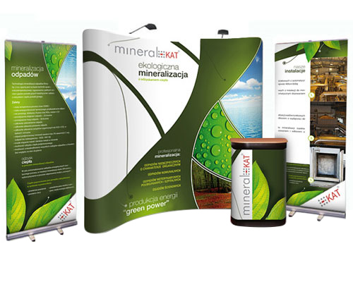 Curved 3x3 popup stand bundle with 2x pullup banner stands