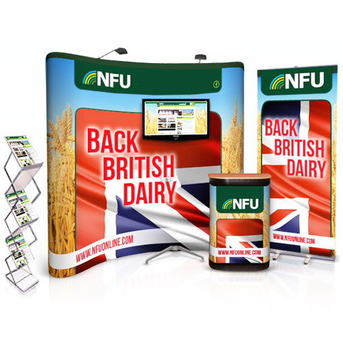 Popup bundle deal with 3x3 curved stand, pullup banner, leaflet holder and TV stand