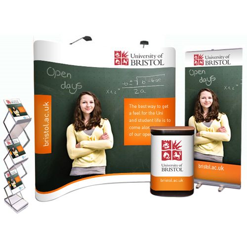 Popup bundle deal with 3x3 curved stand, pullup banner and A4 leaflet holder