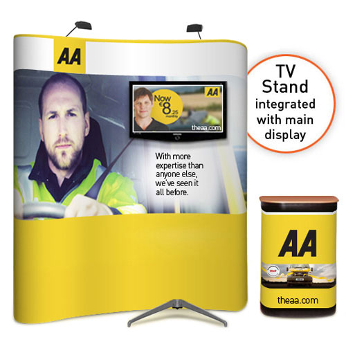 """3x2 popup stands with integrated large TV / monitor (32 to 60"""")"""