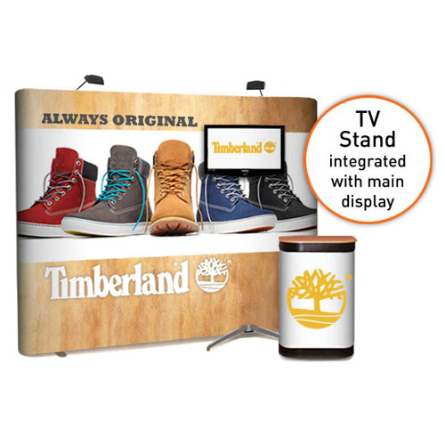 3x4 straight popup stand with a TV stand supporting a monitor between 32 and 50 inches