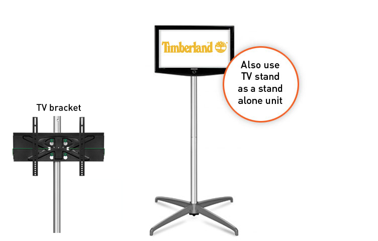 Choose to integrate the TV stand within the popup graphic or use it as a free standing TV mount