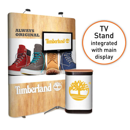 Straight 3x2 popup stand with TV stand to support screens between 32 and 50""
