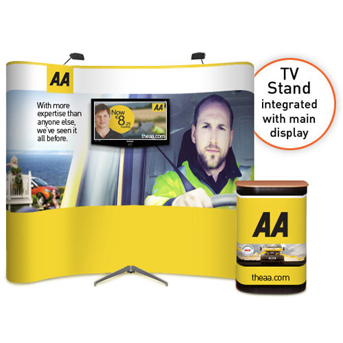 """3x3 curved popup stand with integrated large TV stand (32 to 50"""")"""
