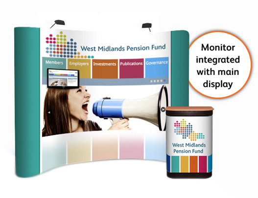 """3x4 curved popup stand with TV / monitor up to 22"""""""