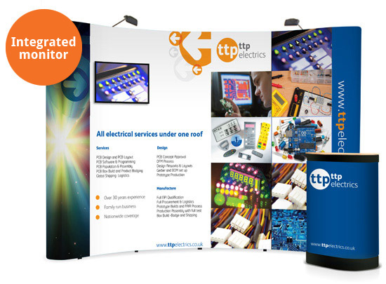 Integrated TV within 3x4 curved popup exhibition stand