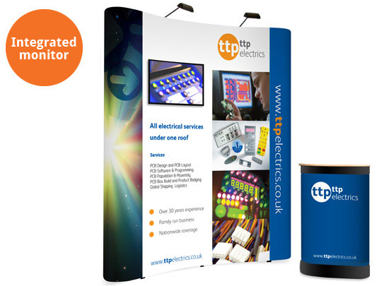 Curved popup stand with integrated monitor . Complete exhibition package with branded counter and LED lights