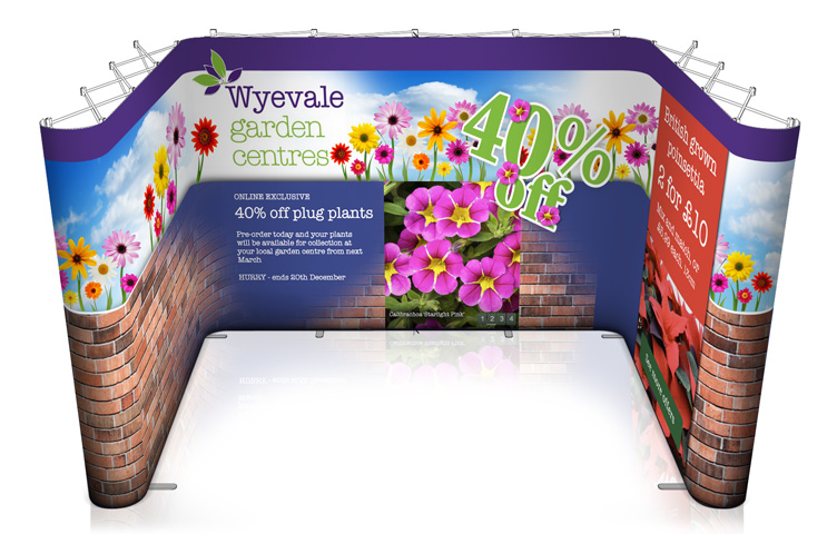 A popup stand in a U-shape for 4x3 metre exhibition booth areas.