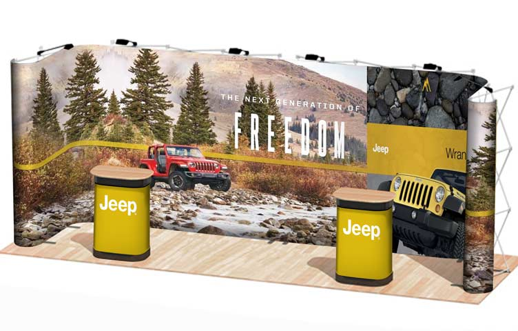 A portable exhibition pop-up stand for 6m x 2m areas