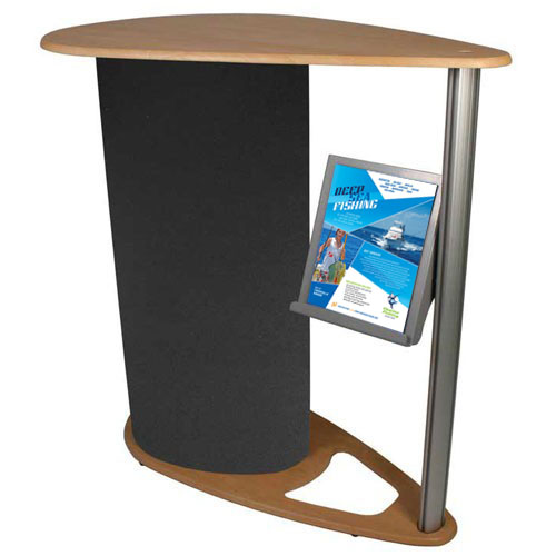 Stylish and practical portable exhibition counter with integrated A4 portrait leaflet holder.