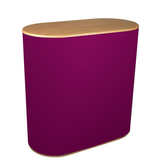 MDF constructed portable counter with a textile fabric covering. Choice of full wrap or kneehole.