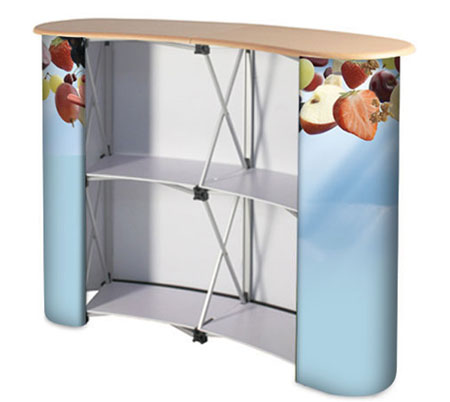 Graphic portable counters with rear internal shelf and folding wooden worktop.