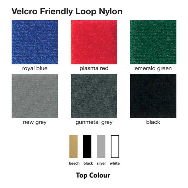 Portable plinths can be covered in 1 of 13 Velcro friendly fabric colours & 4 work top finishes