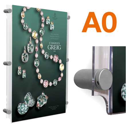 A0 wall mount poster pocket with SATIN SILVER standoff sign fixings