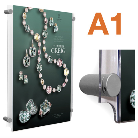A1 wall mount acrylic poster pocket with sign supports / fixings