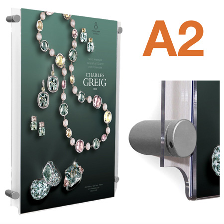 A2 wall mount poster holders with metal sign fixings