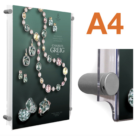 A4 wall mount poster pockets with sign fixings | Choose portrait or landscape