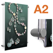 Wall Mounted A2 Poster Pockets with SATIN SILVER Stand-offs