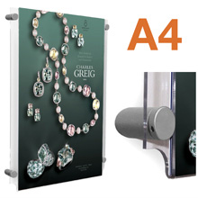 Wall Mounted A4 Poster Pockets with SATIN SILVER Stand-offs