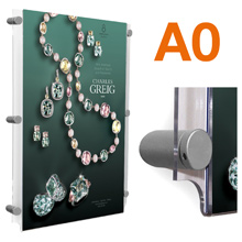 Wall Mounted A0 Poster Pockets with SATIN SILVER Stand-offs