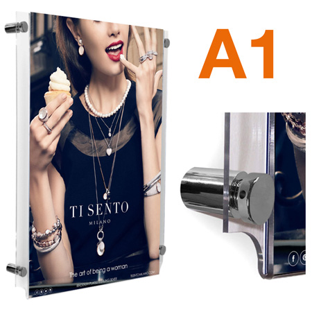 A1 stand-off poster frame with polished chrome sign supports