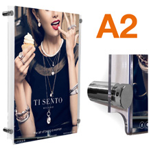 A2 Wall Mounted Poster Pockets POLISHED CHROME Stand-offs