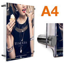A4 Wall Mounted Poster Holders POLISHED CHROME Stand-offs