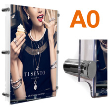 A0 Wall Mounted Poster Frames POLISHED CHROME Stand-offs