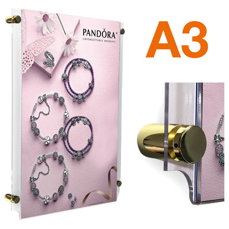 A3 poster frame with brass sign stand off sign fixing