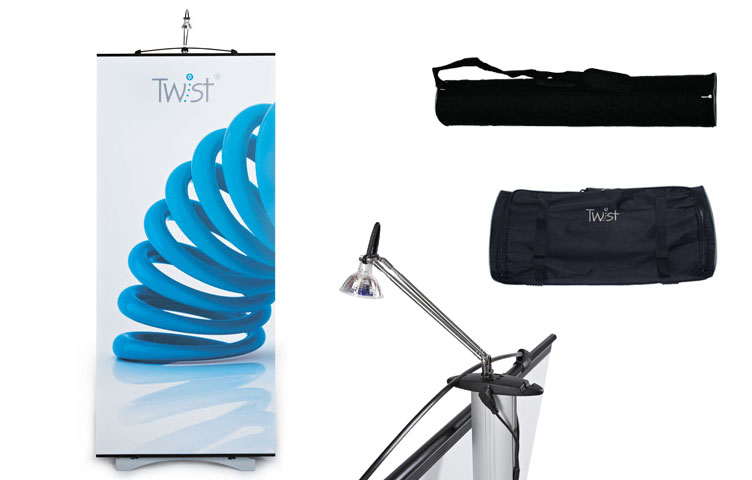 Twist banner system - all inclusive package including hardware, graphic, bags and spotlight.