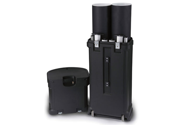 Hard wheeled case including in Twist 3 panel kit package