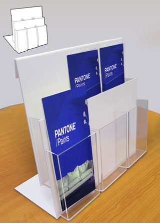 Counter standing leaflet holders with 6 x A4 portrait pockets over 2 tiers.