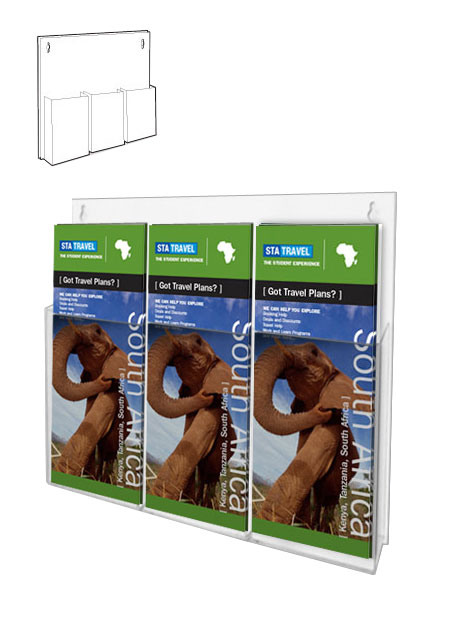 Wall mount leaflet holders with 3 x 1/3 A4 clear pockets. Mounted onto white styrene back panel.