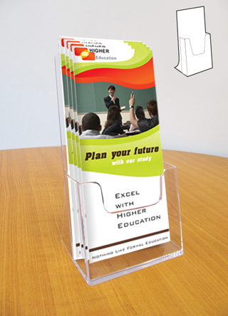 Clear acrylic counter standing single 1/3 A4 leaflet holders in packs of 4.