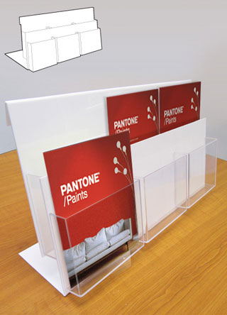 Counter standing leaflet holder with 6 x A4 portrait pockets.
