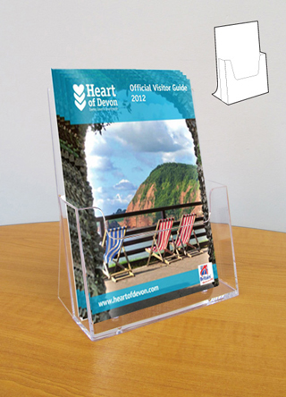 Acrylic A5 table top leaflet holders with single pocket.