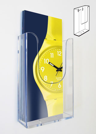 1/3 A4 single pocket wall mount acrylic dispensers (Sold in packs of 4)