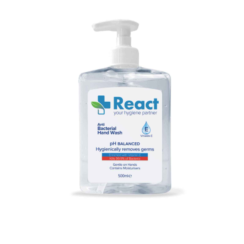 REACT Anti-Bacterial Hand Wash (6 X 500ml)