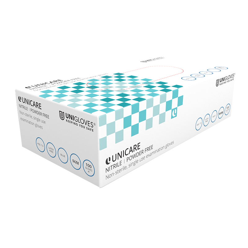 Unicare Nitrile Gloves Blue (100) - EXTRA LARGE