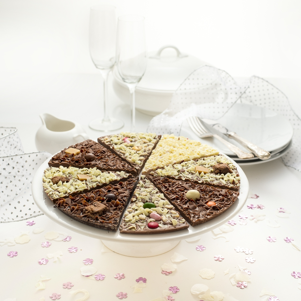 Delicious Dilemma Chocolate Pizza looks great on a Wedding Table.