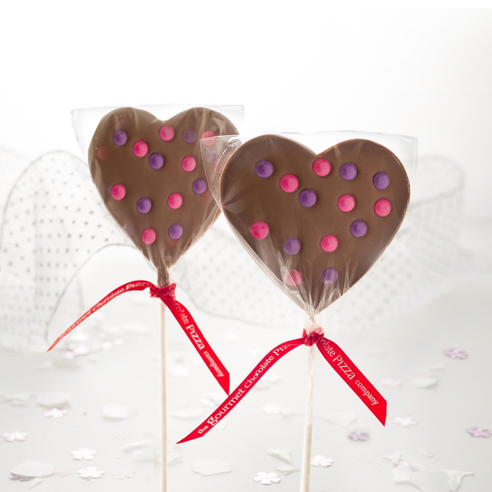 Give your heart to someone special with our gorgeous Heart Lollipops - available in milk and white chocolate