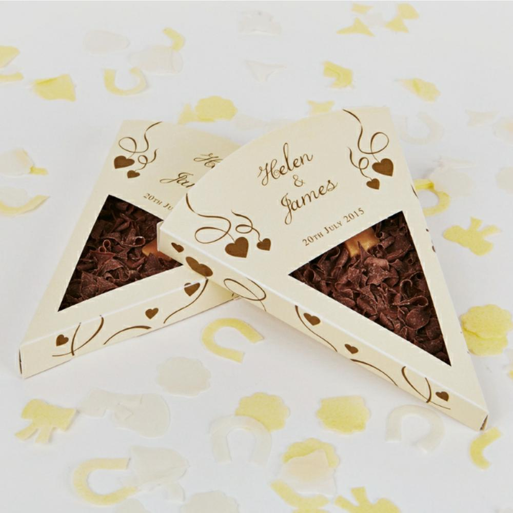 Gold Heart chocolate wedding favour design
